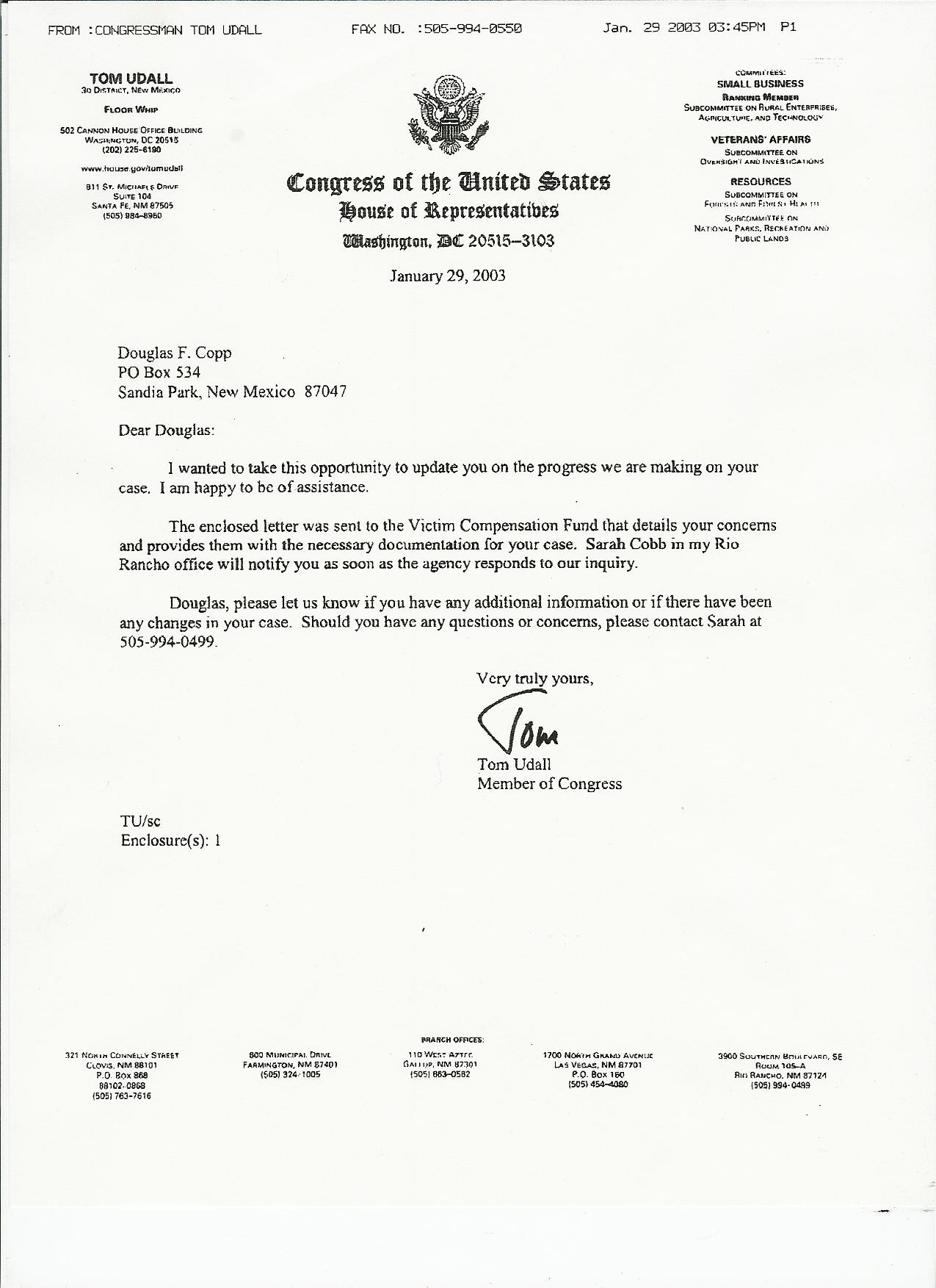 Copy Of Congressman Tom Udall's Letter