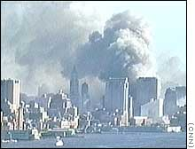 NYC's skyline billows with smoke, the WTC destroyed